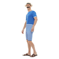 Smiffys 20s Badpak Kostuum - Blauw-wit