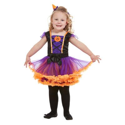 Peuter Pompoen Heks Kostuum - Oranje