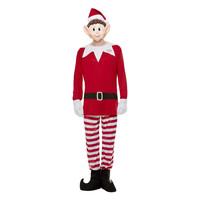 Smiffys Elven Behavin' Slecht Mens Elf Kostuum - Rood-wit