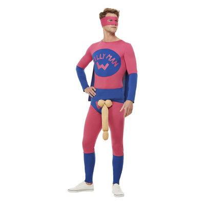 Willyman Superheld Kostuum - Roze En Blauw