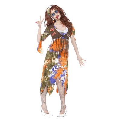 Zombie '60 Hippie Dame Kostuum - Veelkleurige