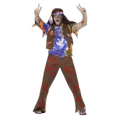 Zombie Jaren '60 Hippie Kostuum - Multi-gekleurde