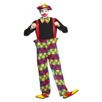 Hooped Clown Kostuum - Veelkleurige