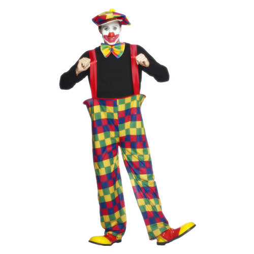 Smiffys Hooped Clown Kostuum - Veelkleurige