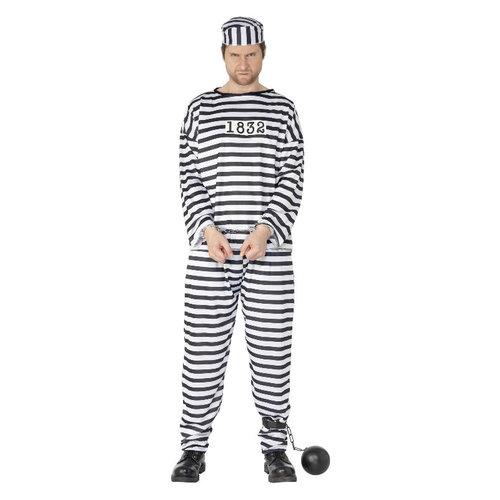 Smiffys Gevangene Kostuum - Zwart-wit