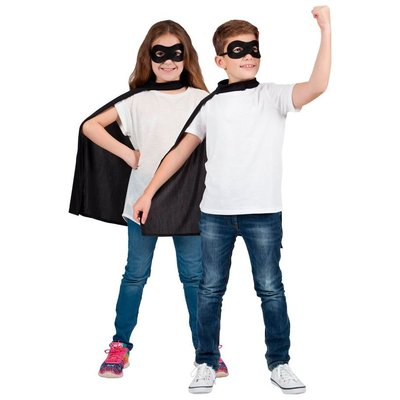 Kind Super Hero Cape + masker - zwart (Zorro)