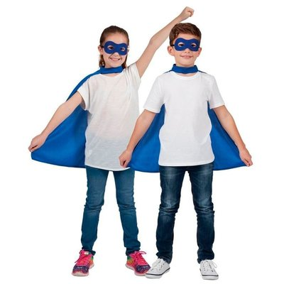 Kind Super Hero Cape + masker - blauw