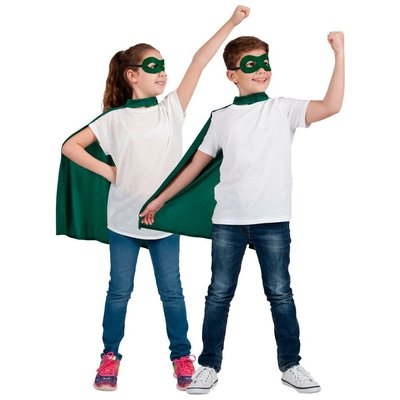 Kind Super Hero Cape + masker -groen