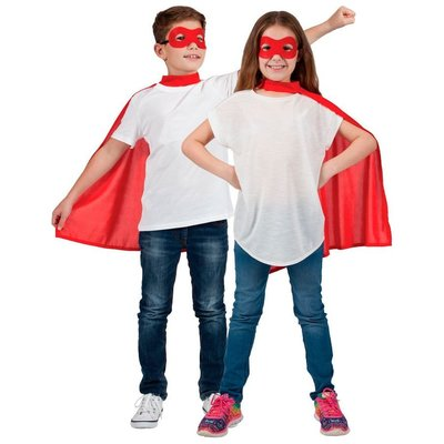 Kind Super Hero Cape + masker -rood