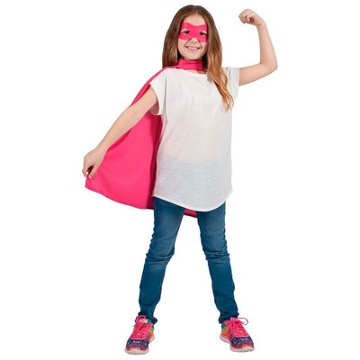 Kind Super Hero Cape + masker -roze