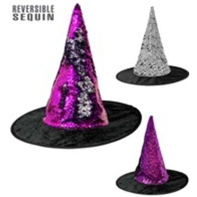 Omkeerbare heksenhoed paars/zilver