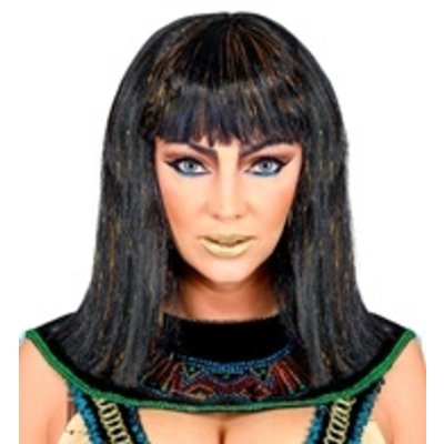 Pruik Cleopatra met klatergoud