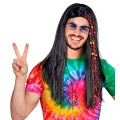 Pruik Hippie Kraaltjes/Staartjes