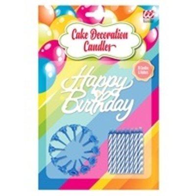 "Taart Kaarsjes ""Happy Birthday"" blauw"