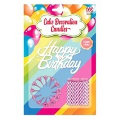 "Taart Kaarsjes ""Happy Birthday"" roze"