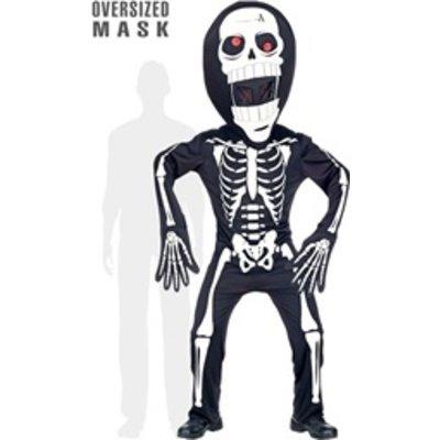 Skelet met extra groot hoofd kind - kostuum
