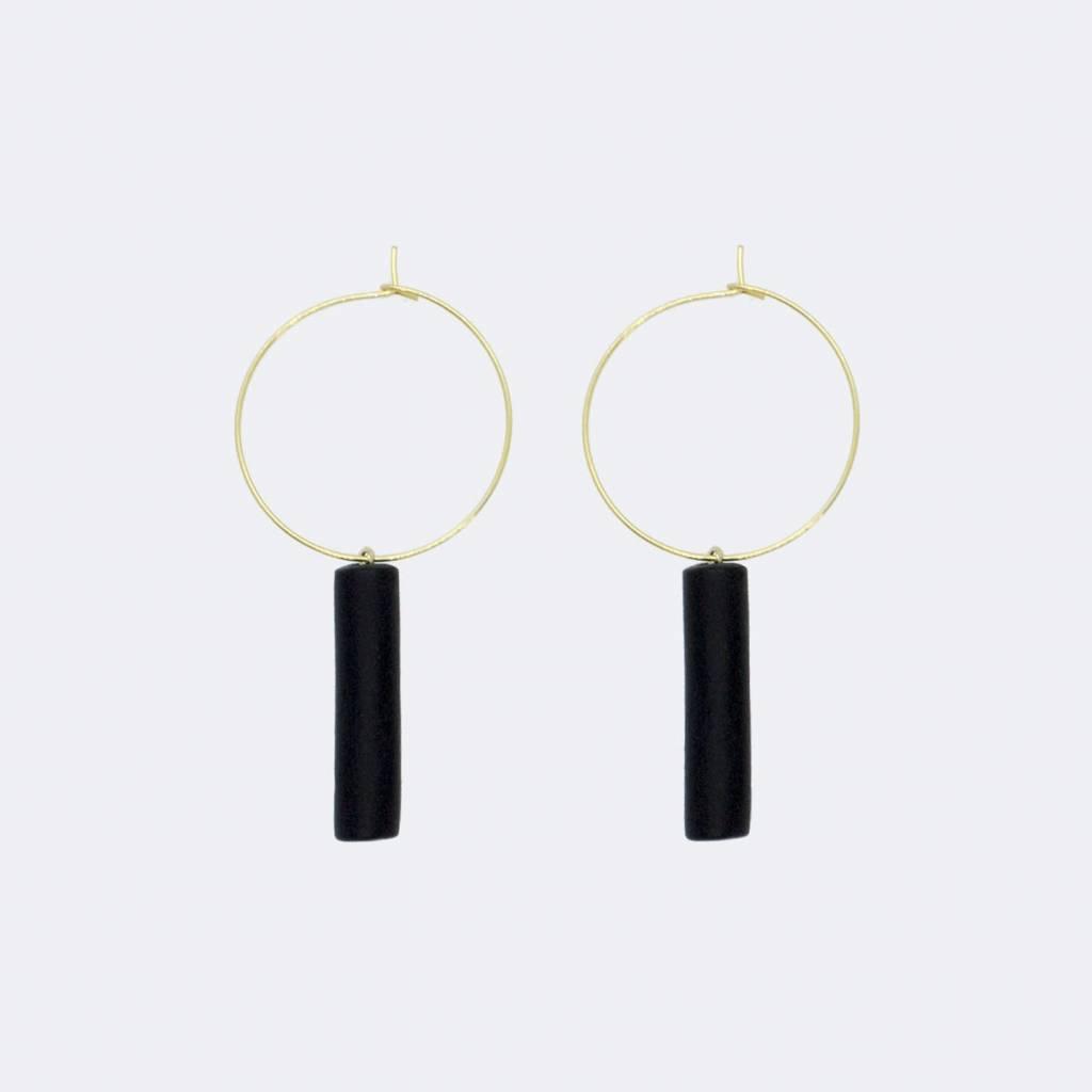 5mm Paper Hoop Black Bar Pendant