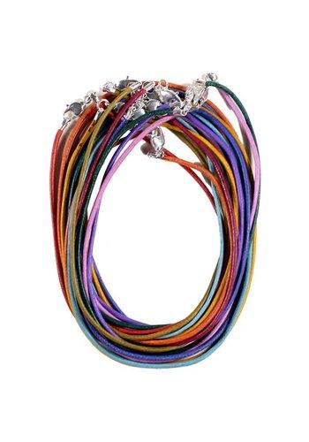 Yogi & Yogini naturals Lederen halsketting met karabijnslotje multicolour (45 cm)