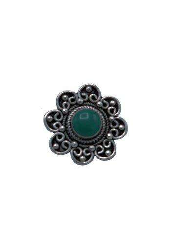 Yogi & Yogini naturals Knoop bloem gedecoreerd zilver/turkoois  (±9 gram)