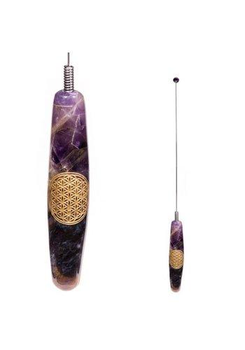 Yogi & Yogini naturals Biotensor verenstalen spriet handvat amethyst Bloem des Levens (32 cm)