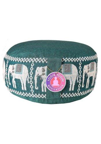 Yogi & Yogini naturals Meditatiekussen groen olifanten opdruk (33x16cm)