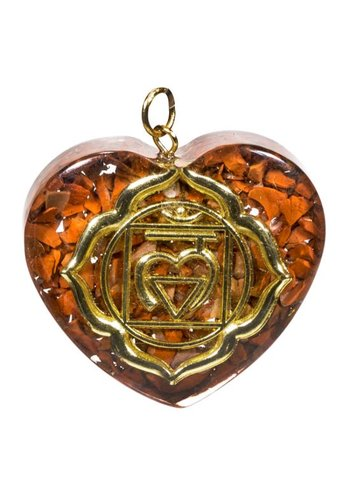Yogi & Yogini naturals Orgon hanger eerste chakra hartvormig (4x4,2 cm)