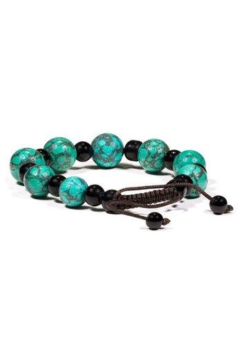 Yogi & Yogini naturals Armband turkoois & zwarte onyx (verstelbaar)