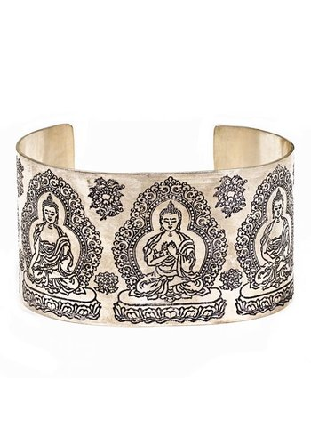 Yogi & Yogini naturals Armband boeddha wit metaal (±7 cm)