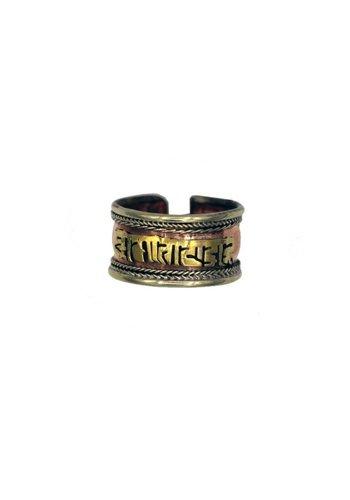Yogi & Yogini naturals Ring Tibet met Om Mani Pad Me Hum koperverguld (1.3 cm)