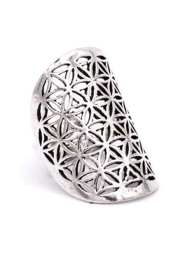 Yogi & Yogini naturals Ring bloem des levens messing zilverkleur (3,5x3 cm)