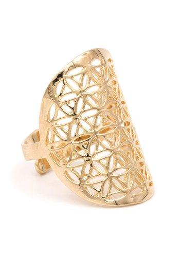 Yogi & Yogini naturals Ring bloem des levens messing goudkleurig (3x2 cm)