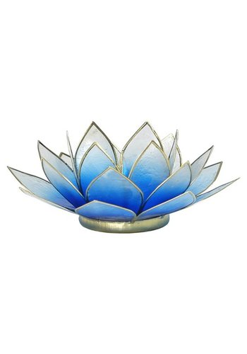 Yogi & Yogini naturals Lotus sfeerlicht blauw/wit 2-kleurig goudrand (Ø 13.5 cm)