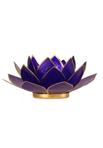 Yogi & Yogini naturals Lotus sfeerlicht indigo 6e chakra goudrand (Ø 13.5 cm)