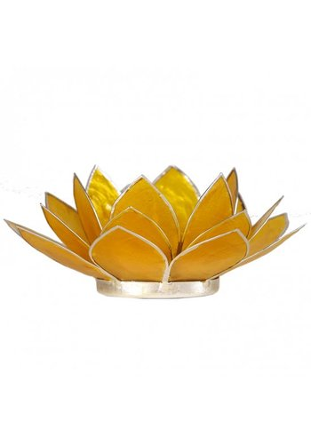 Yogi & Yogini naturals Lotus sfeerlicht geel 3e chakra zilverrand (Ø 13.5 cm)