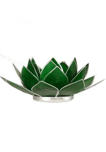Yogi & Yogini naturals Lotus sfeerlicht groen 4e chakra zilverrand (Ø 13.5 cm)