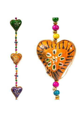 Yogi & Yogini naturals Decoratieve slinger hartjes kunststof (90 cm)