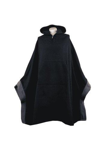 Yogi & Yogini naturals Meditatie poncho fleece zwart