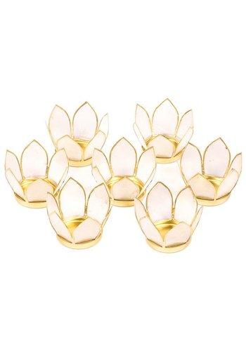 Yogi & Yogini naturals Set van 7: Lotus sfeerlicht klein naturel goudrand (Ø 8 cm)