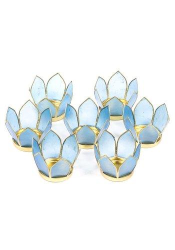 Yogi & Yogini naturals Set van 7: Lotus sfeerlicht klein blauw goudrand (Ø 8 cm)