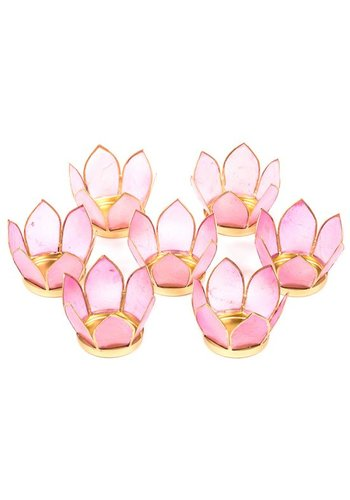 Yogi & Yogini naturals Set van 7: Lotus sfeerlicht klein roze goudrand (Ø 8 cm)
