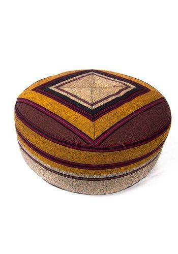 Yogi & Yogini naturals Meditatiekussen grijs/geel/rood patroon multi (33x17cm)