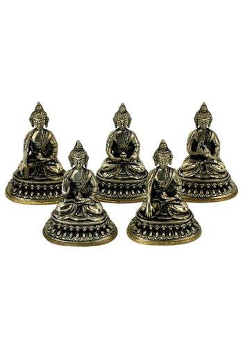 Yogi & Yogini naturals Set 5 Dhyani Boeddha beeldjes witmetaal (10 cm)