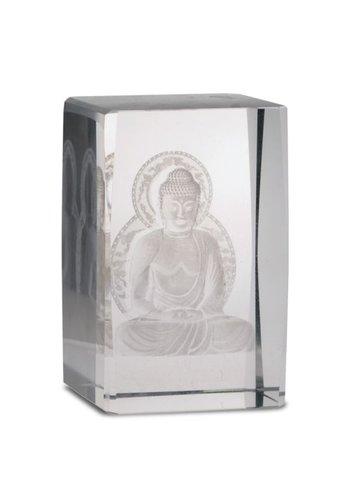 Yogi & Yogini naturals Kristal laser Boeddha op lotustroon rechthoekig (8x5x5 cm)