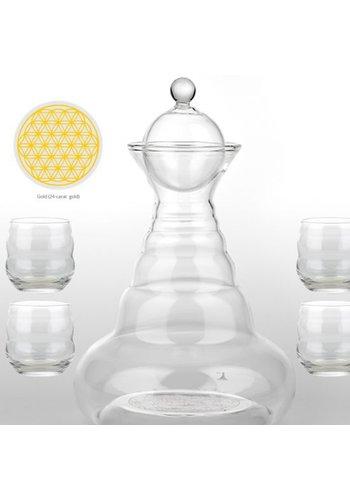 Nature's Design Vitaalwaterkaraf  + 4 Mythos glazen goud (1300 ml)