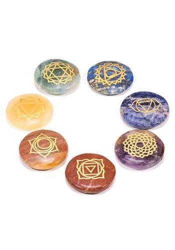 Yogi & Yogini naturals SET 7 chakra symbolen ronde halfedelstenen (3.5 cm)