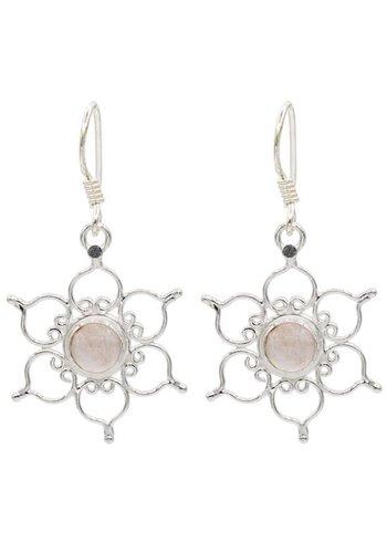 Yogi & Yogini naturals Oorbellen lotus 925 zilver met rozenkwarts (3 cm)
