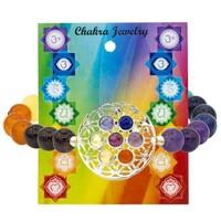 Armband 7 chakra's met bloem des levens symbool elastisch (8 mm)