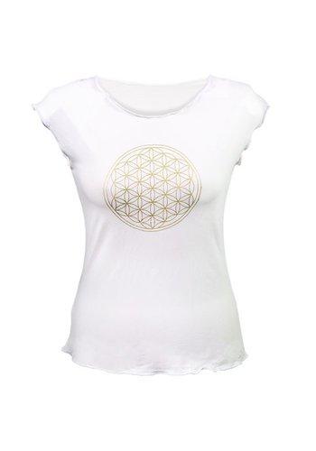 Yogi & Yogini naturals Yoga T-shirt 'Bloem des Levens' wit