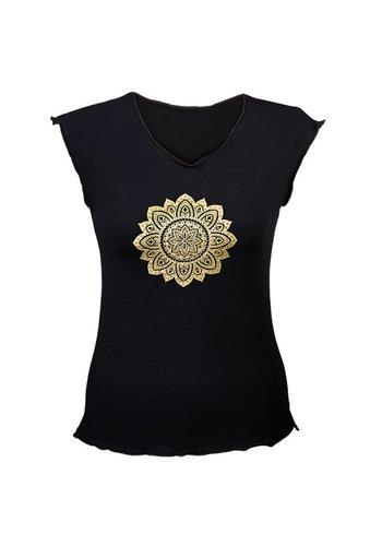 Yogi & Yogini naturals Yoga T-shirt 'Mandala print' zwart