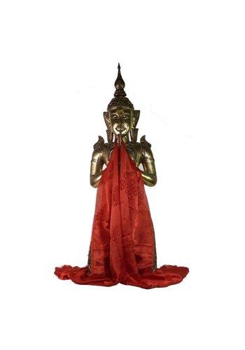 Yogi & Yogini naturals Tibetaanse luxe Katha sjaal rood XL (240 cm)
